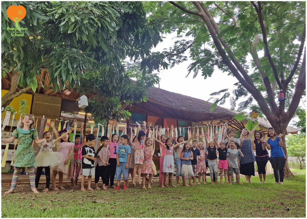 Kindergarten students of Panyaden International School after natural art class