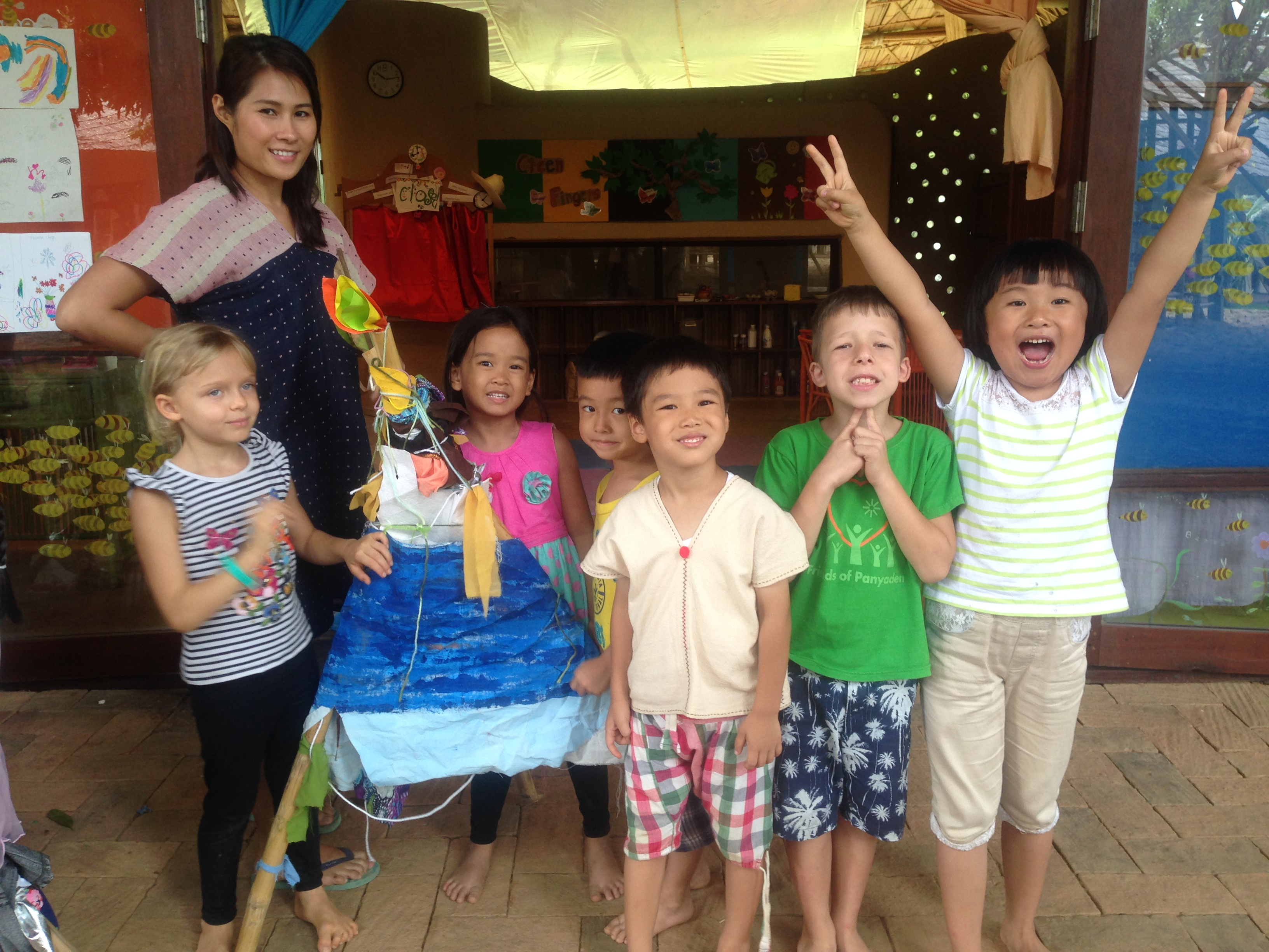 This is our tent! Happy kindergarten students, Panyaden International School
