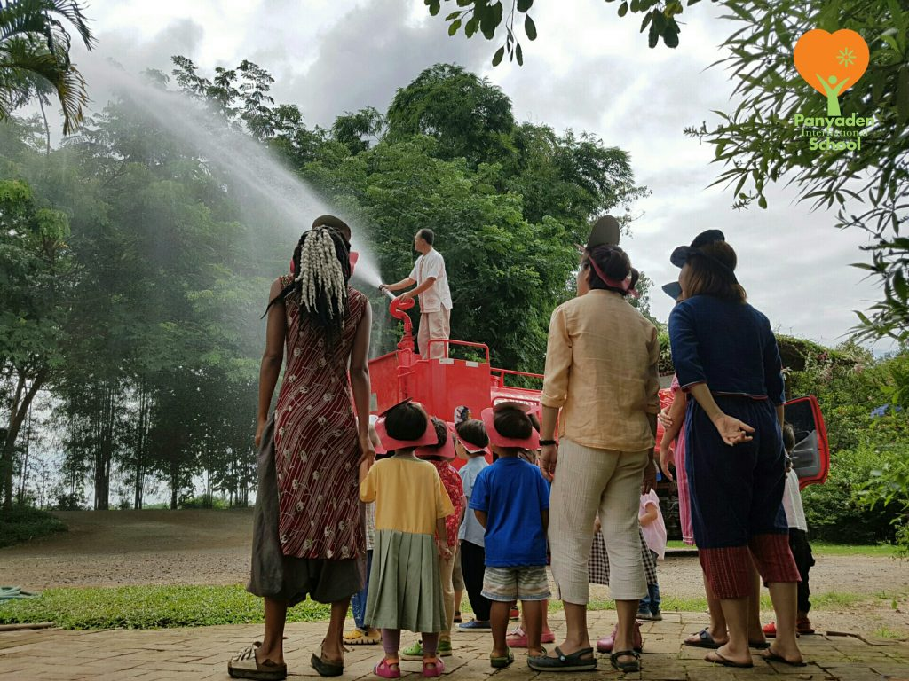 Watching Chiang Mai fire fighting demonstration, Panyaden International School nursery children