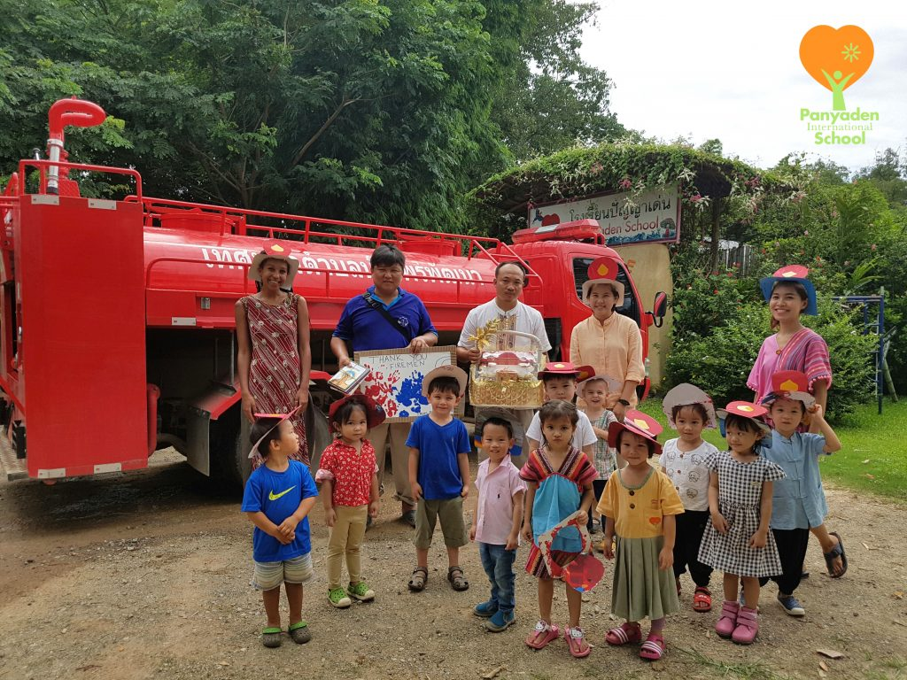 Hang Dong firefighters visit Panyaden International School nursery kids