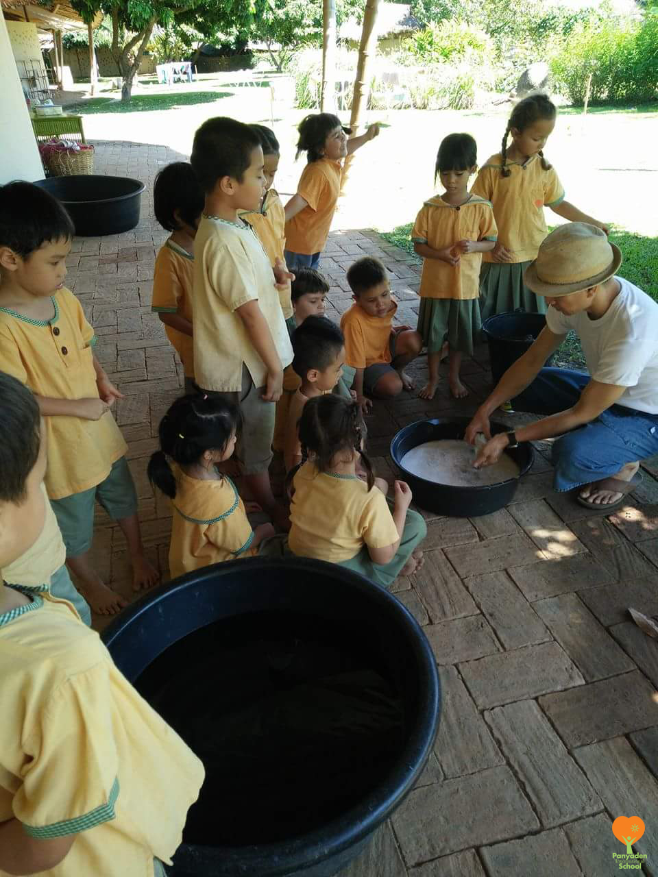 Panyaden International School Life Skills class for Year 1 students: washing laundry and household chores