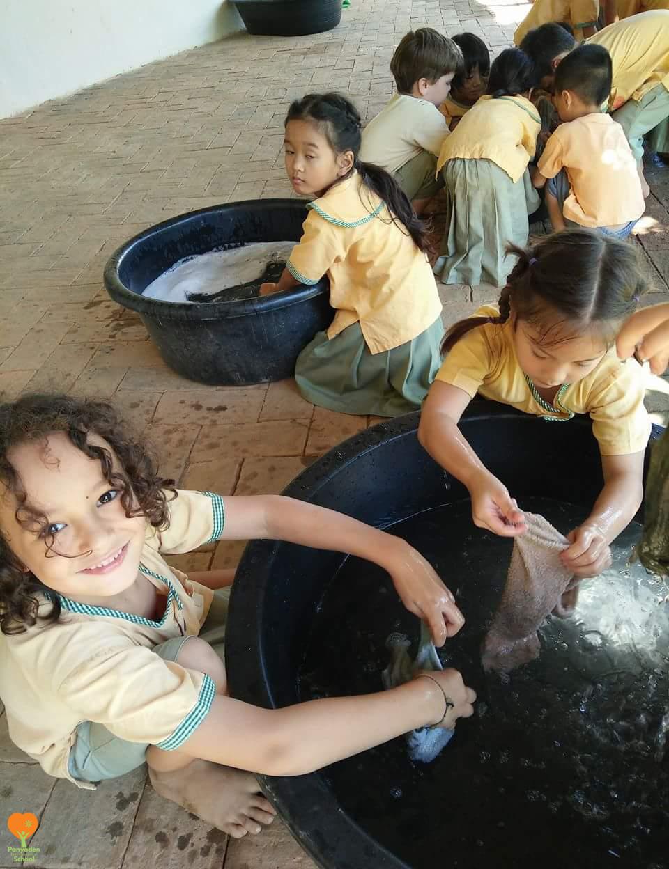Happy washing! Panyaden International School Life Skills Class for Year 1 students