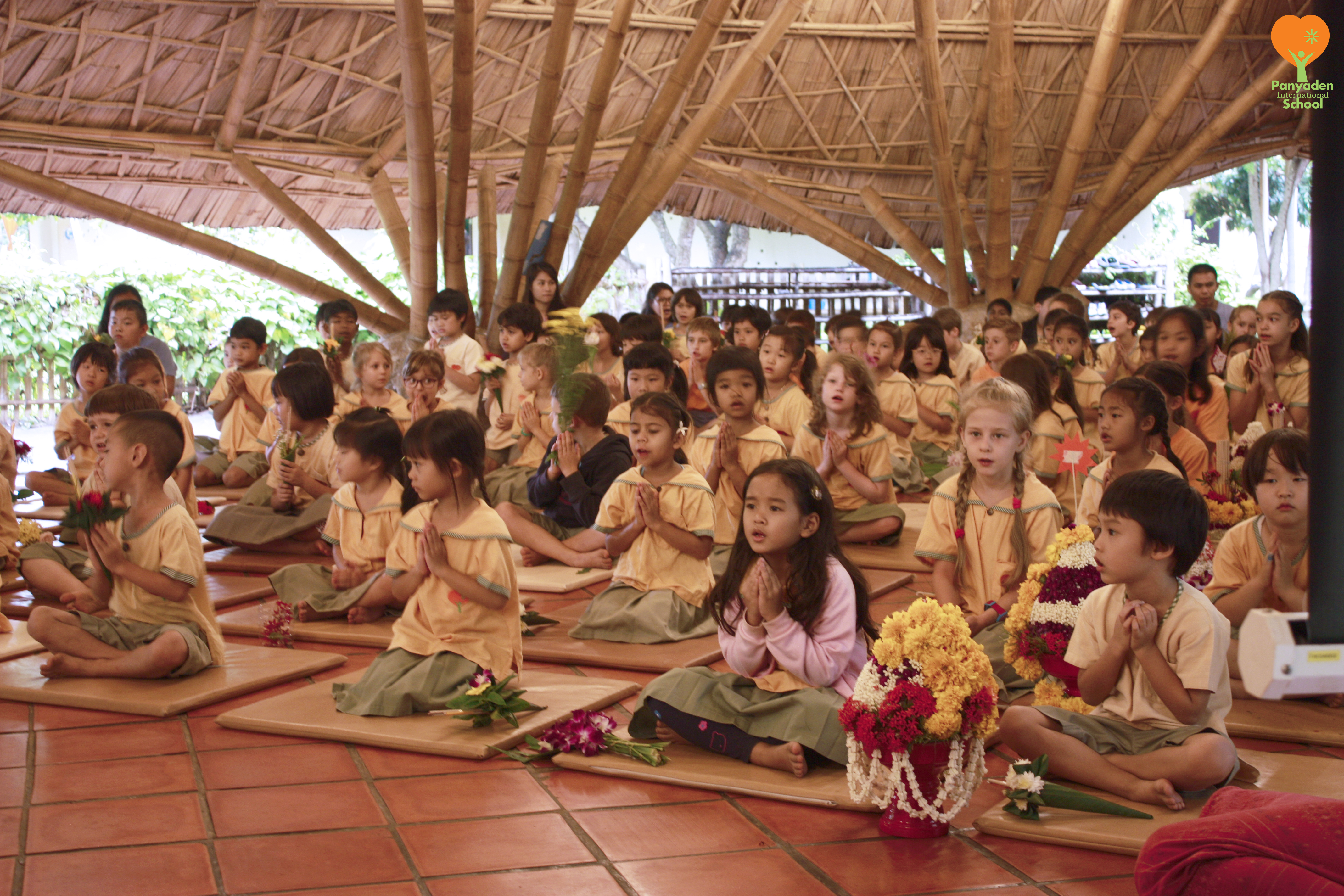 Panyaden students with their flower gifts for teachers, Wai Kru Day 2016