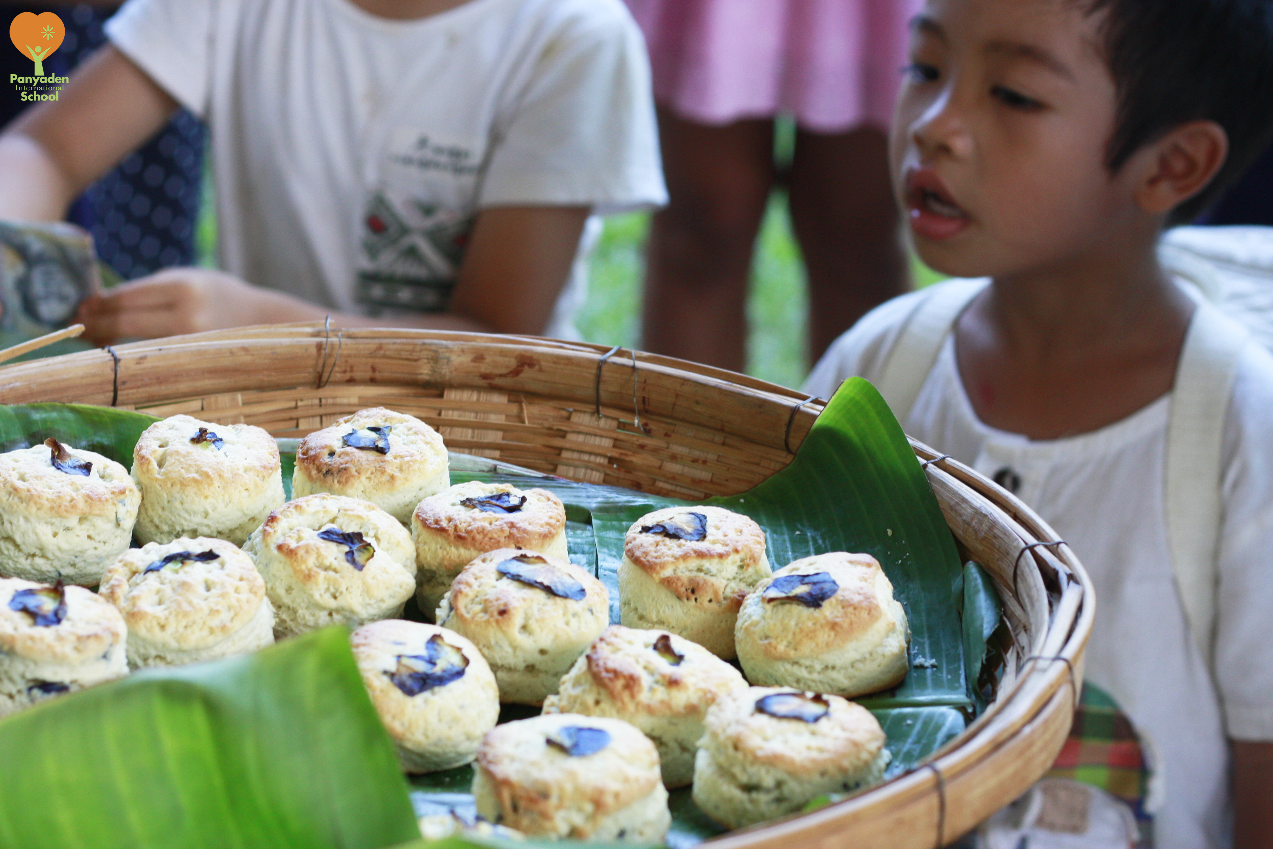 Butterfly pea scones made by Panyaden Year 2 to 4 students for school 'My Project'