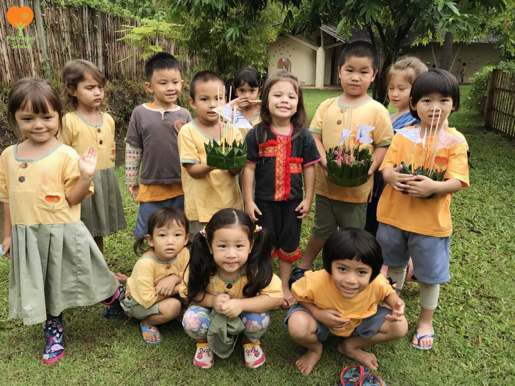Panyaden International School Kindergarten 2 students with their handmade krathongs