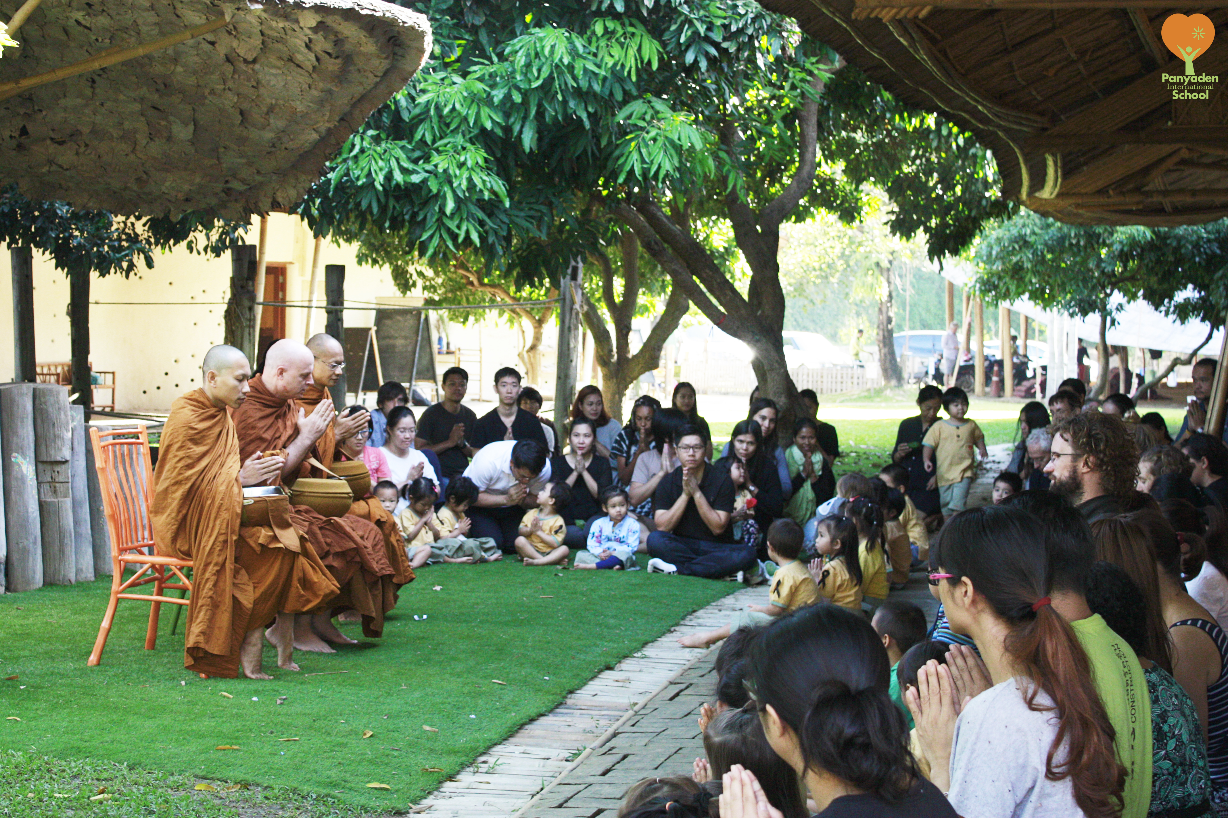 Morning prayers/alms offering to Ven. Ajahn Jayasaro at Panyaden International School