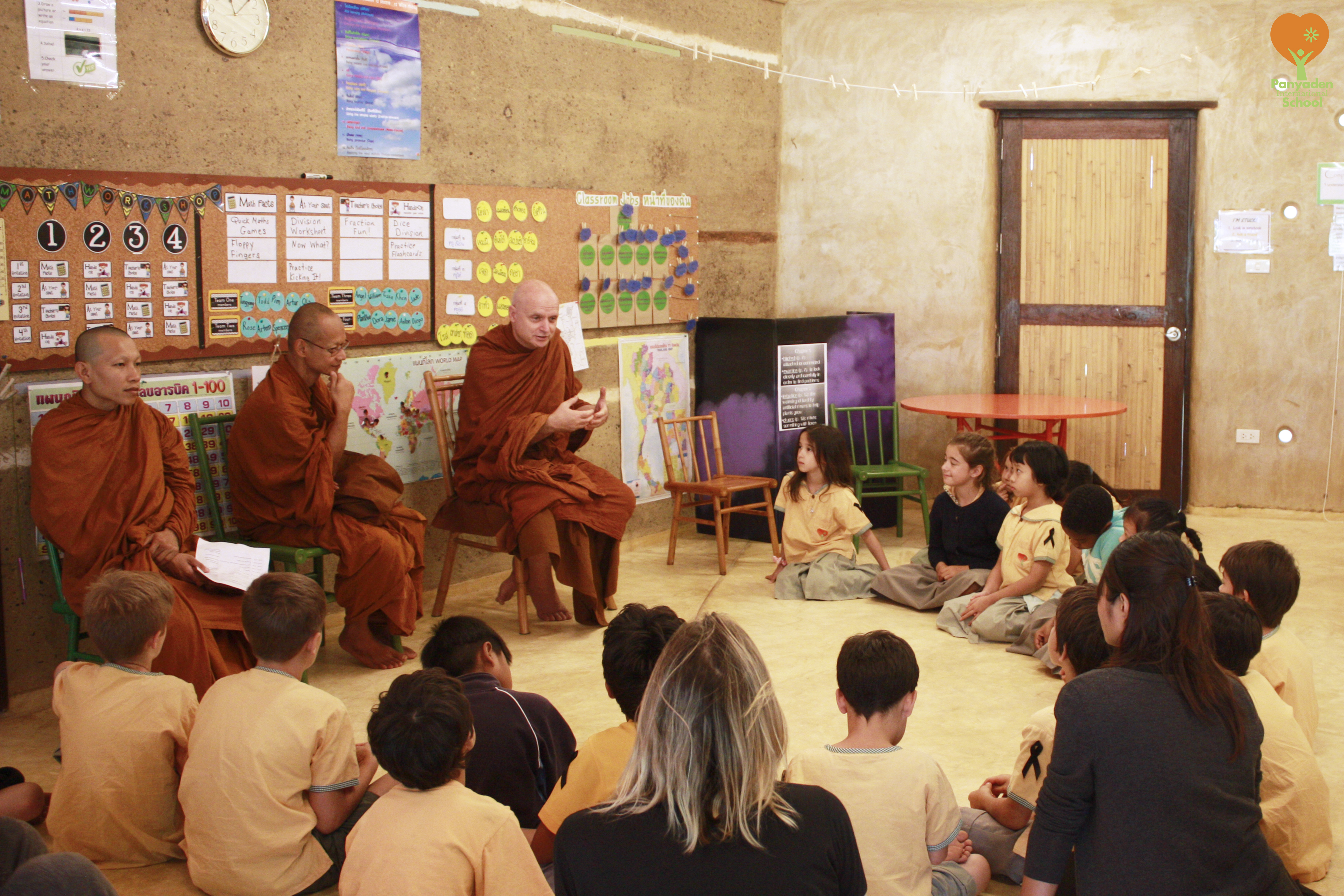Ven. Ajahn Jayasaro in the classroom with Panyaden International School studenrs