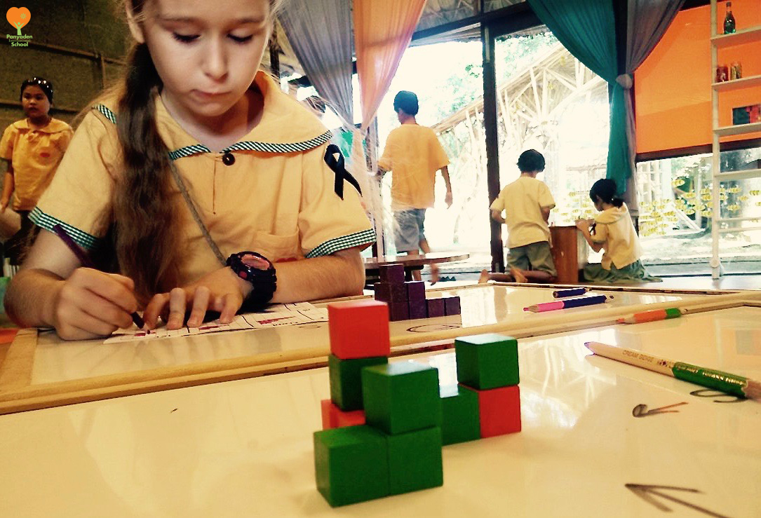 Panyaden International School Y5 primary student drawing isometric shapes, part of primary school curriculm