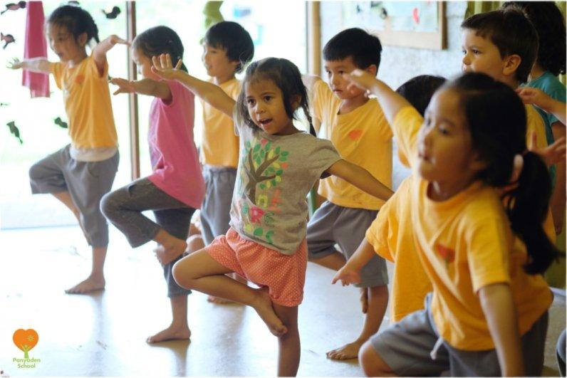 Preschool students dancing on Budding Day, Panyaden International School