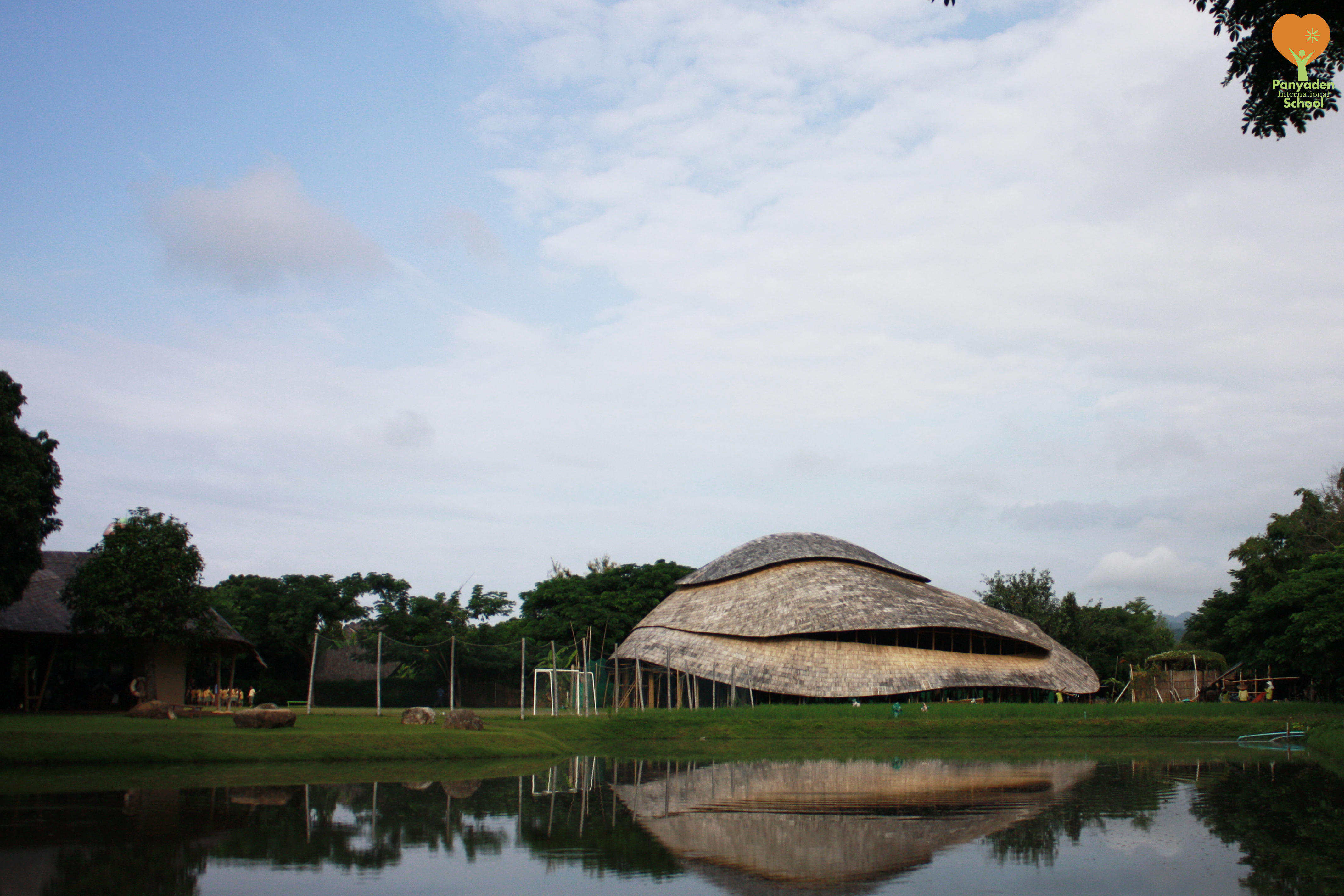 Panyaden's new assembly hall, reflections in the lake