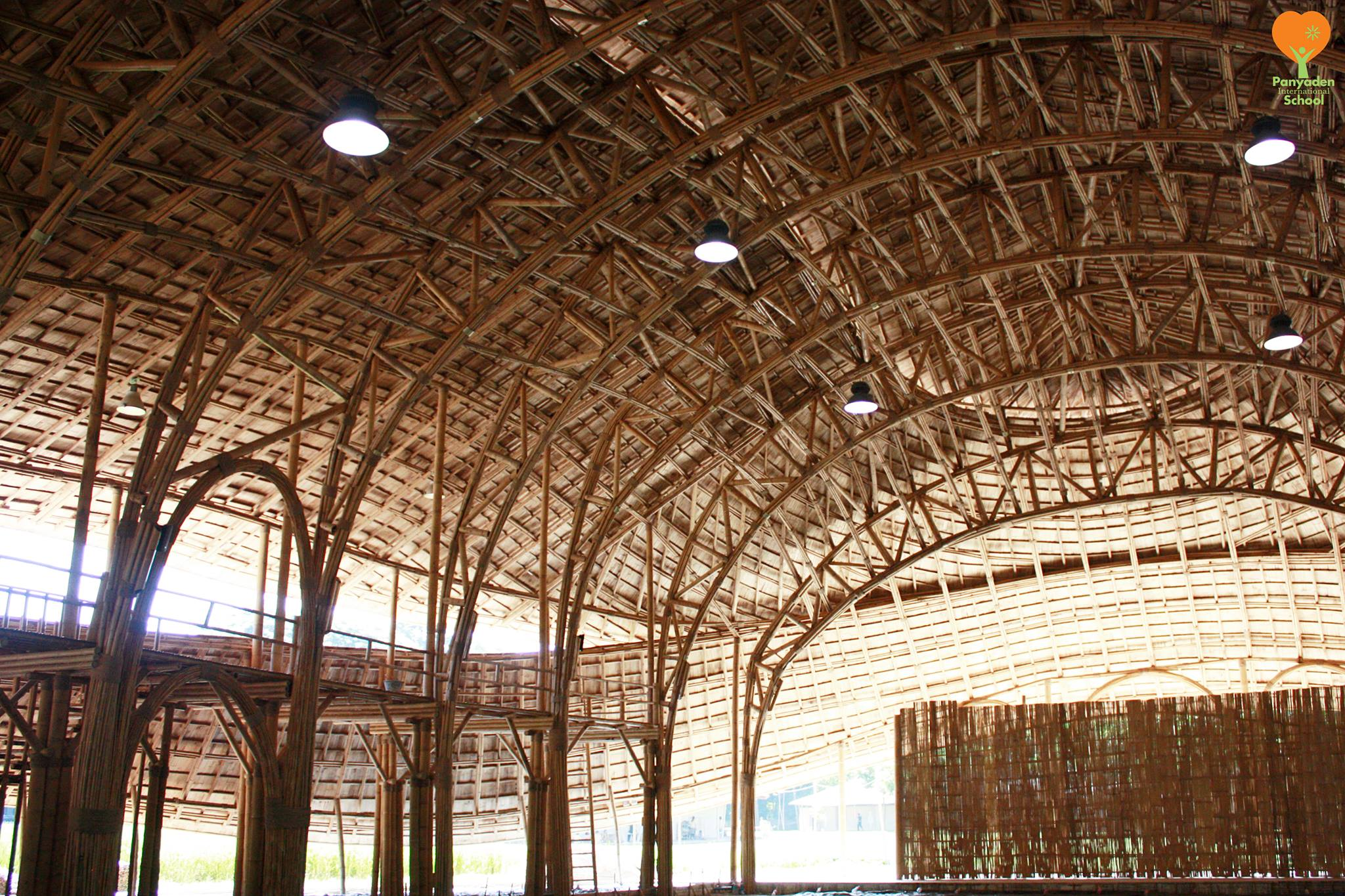 Intricate bamboo roof design, Panyaden International School's new assembly hall. Photo by Panyaden
