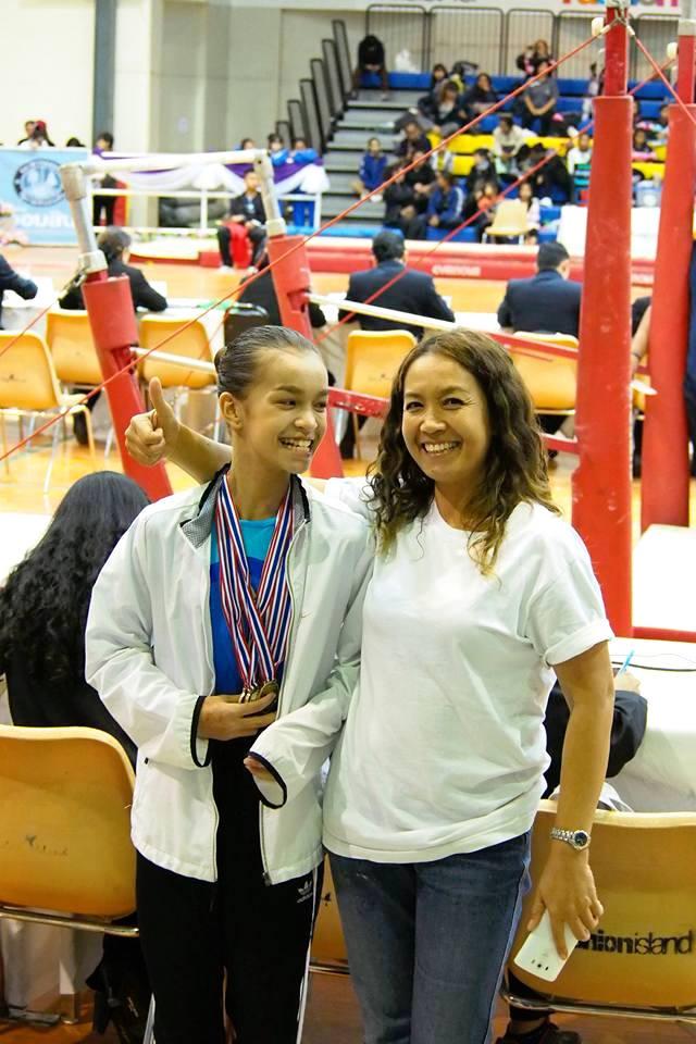 Happy smiles, Panyaden student Amber and mum at Bangkok gymnastics and aerobics contect 2017