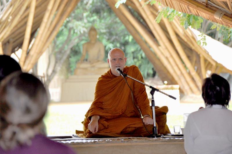 Venerable Ajahn Jayasaro giving a dhamma talk at Panyaden International School