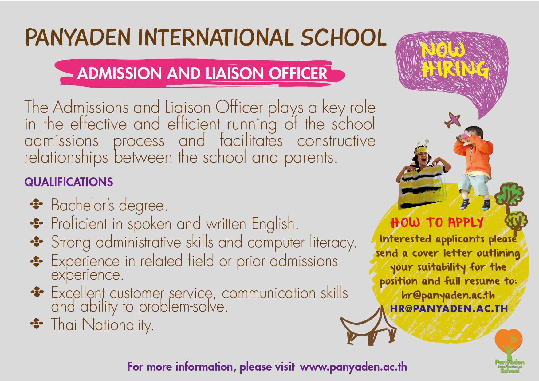 Panyaden International School Job Vacancy