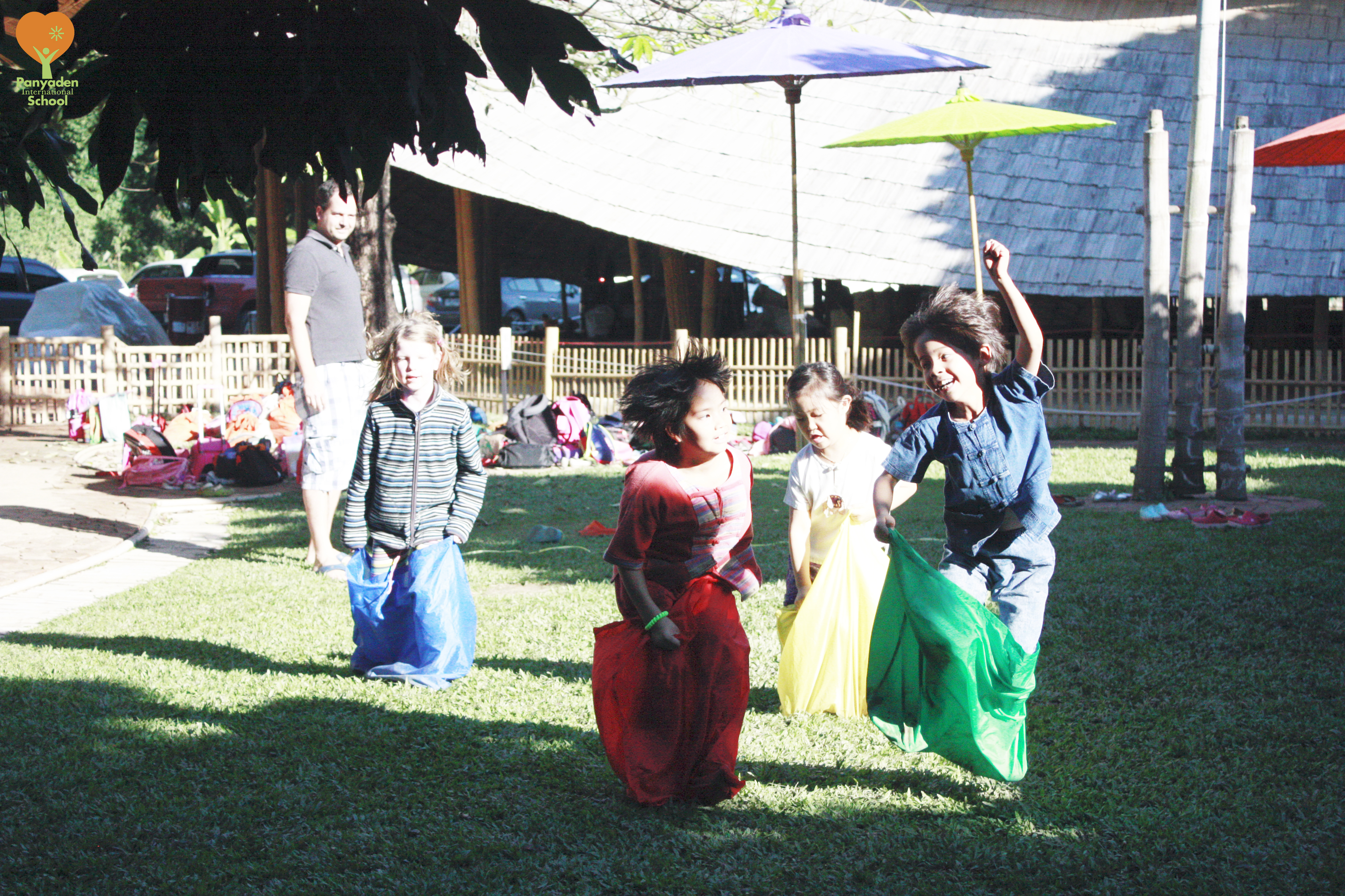 Fun sack race at Panyaden International School on Children's Day