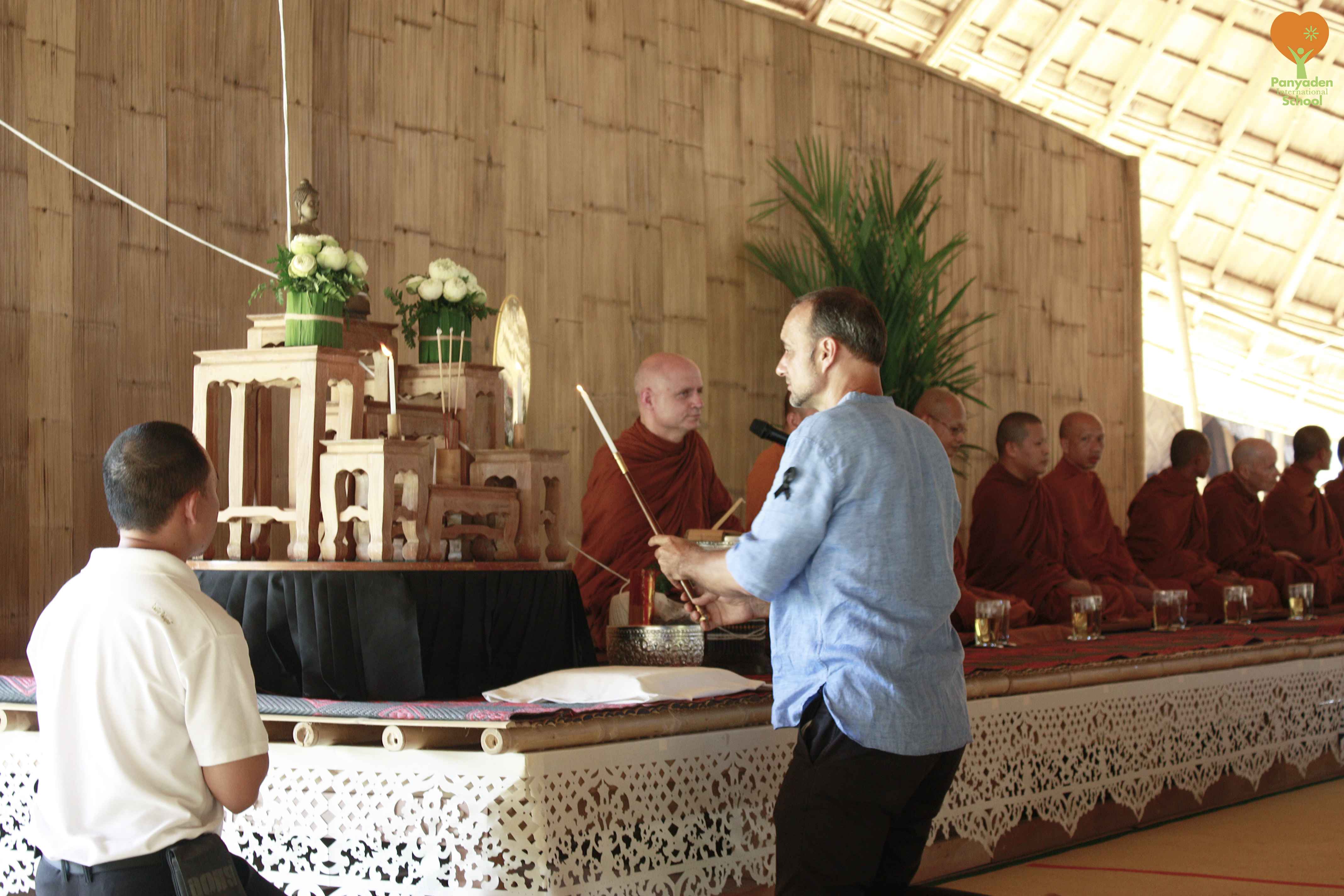 Start of traditional Buddhist blessing ceremony for Panyaden's new assembly hall