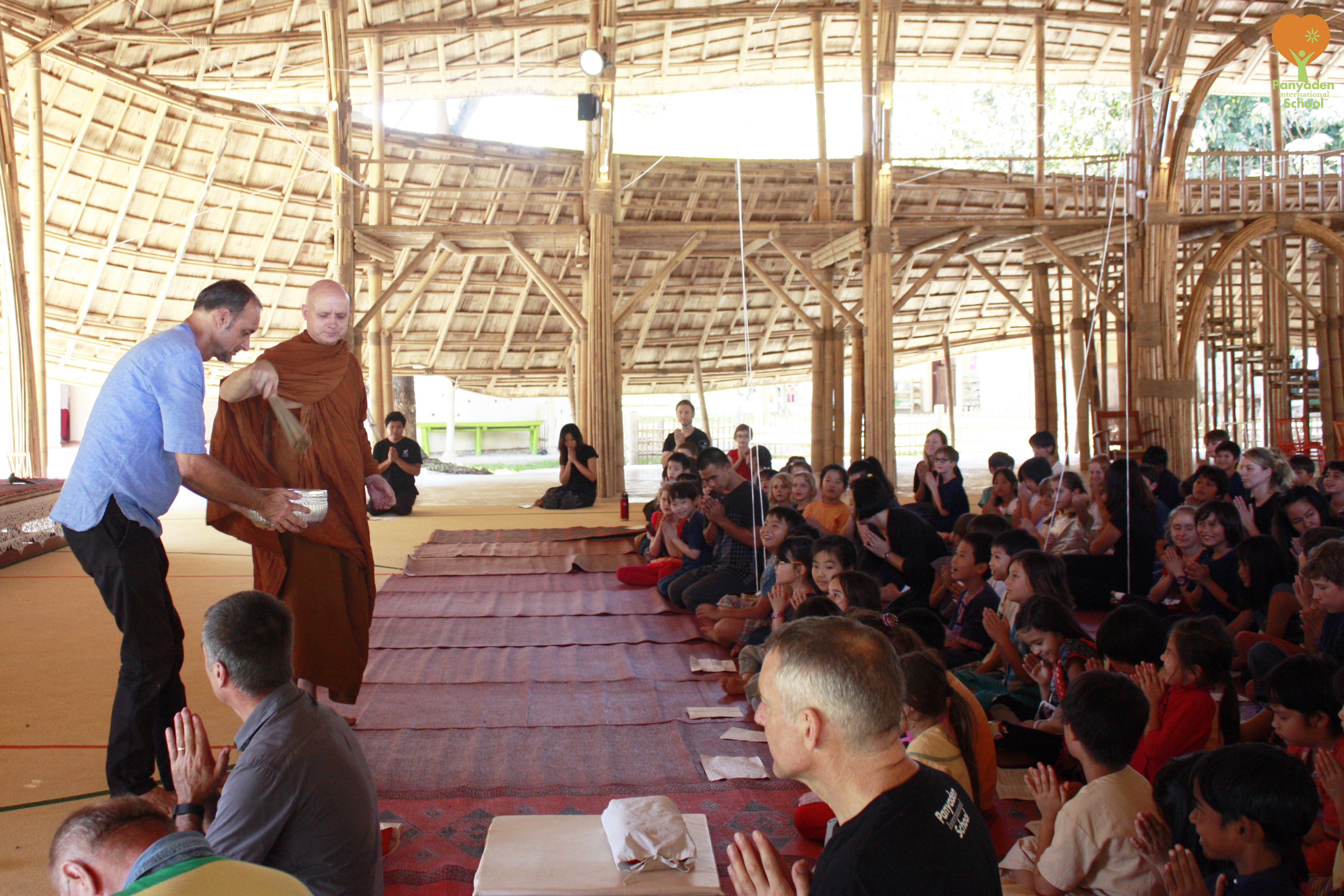 A traditional Buddhist blessing ceremony for Panyaden's new assembly hall