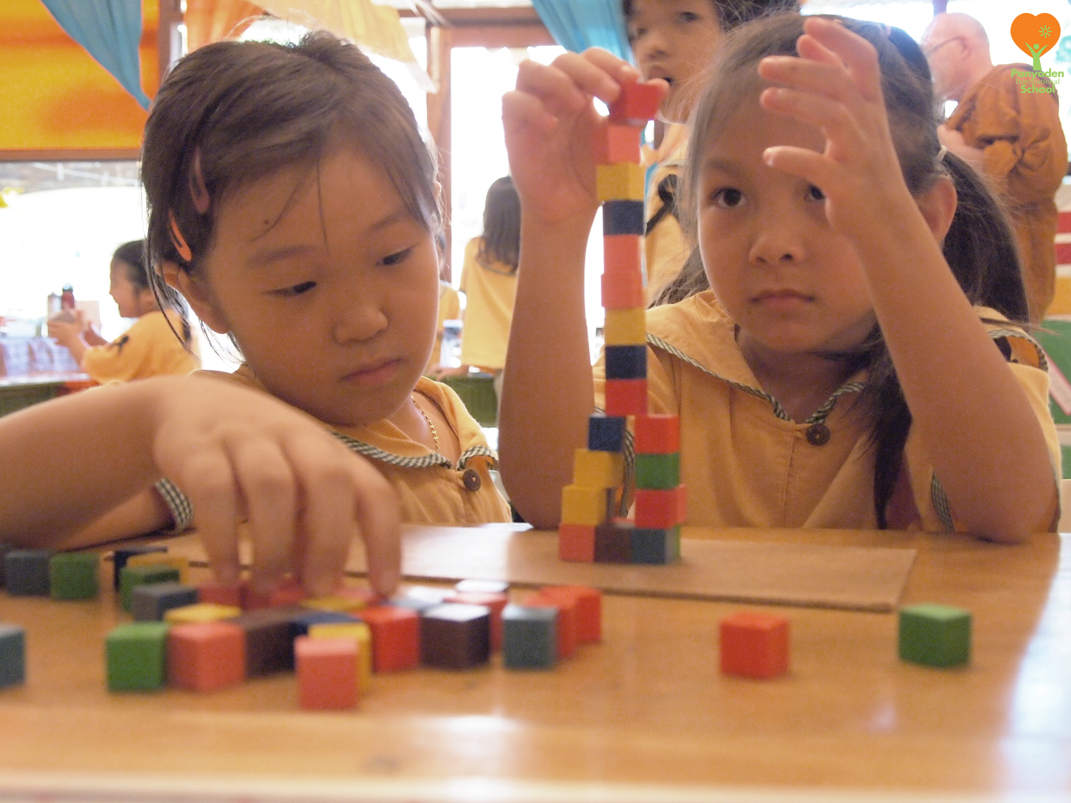 Panyaden primary students playing building block games