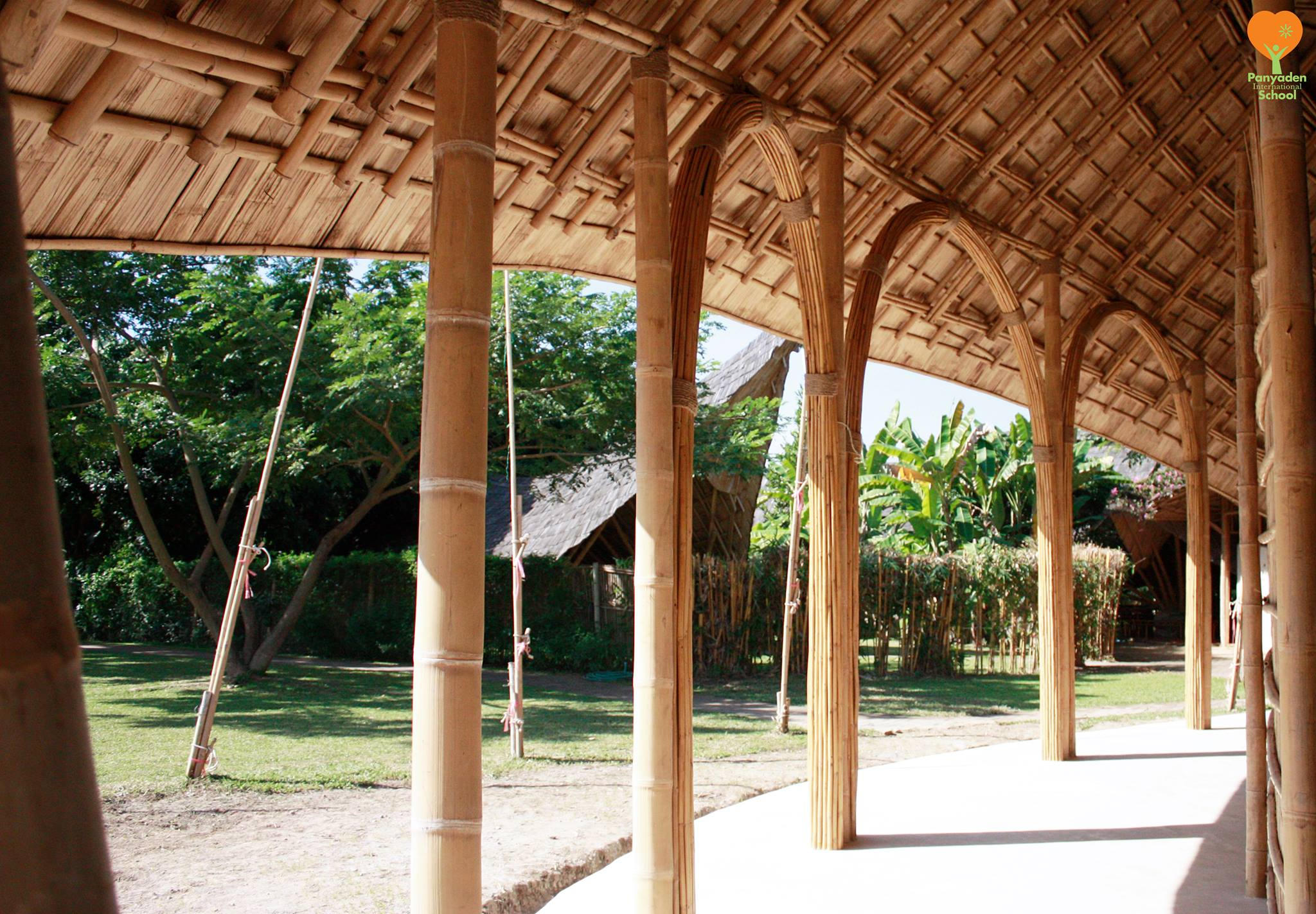 Bamboo poles and intricate roof design, Panyaden International School's new assembly hall