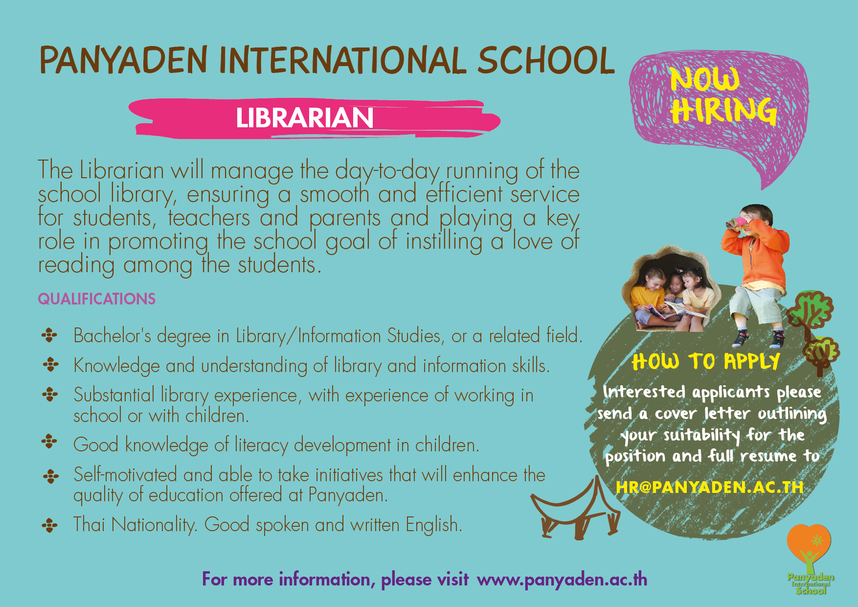 Panyaden International School is hiring a librarian for August 2017 in Chiang Mai