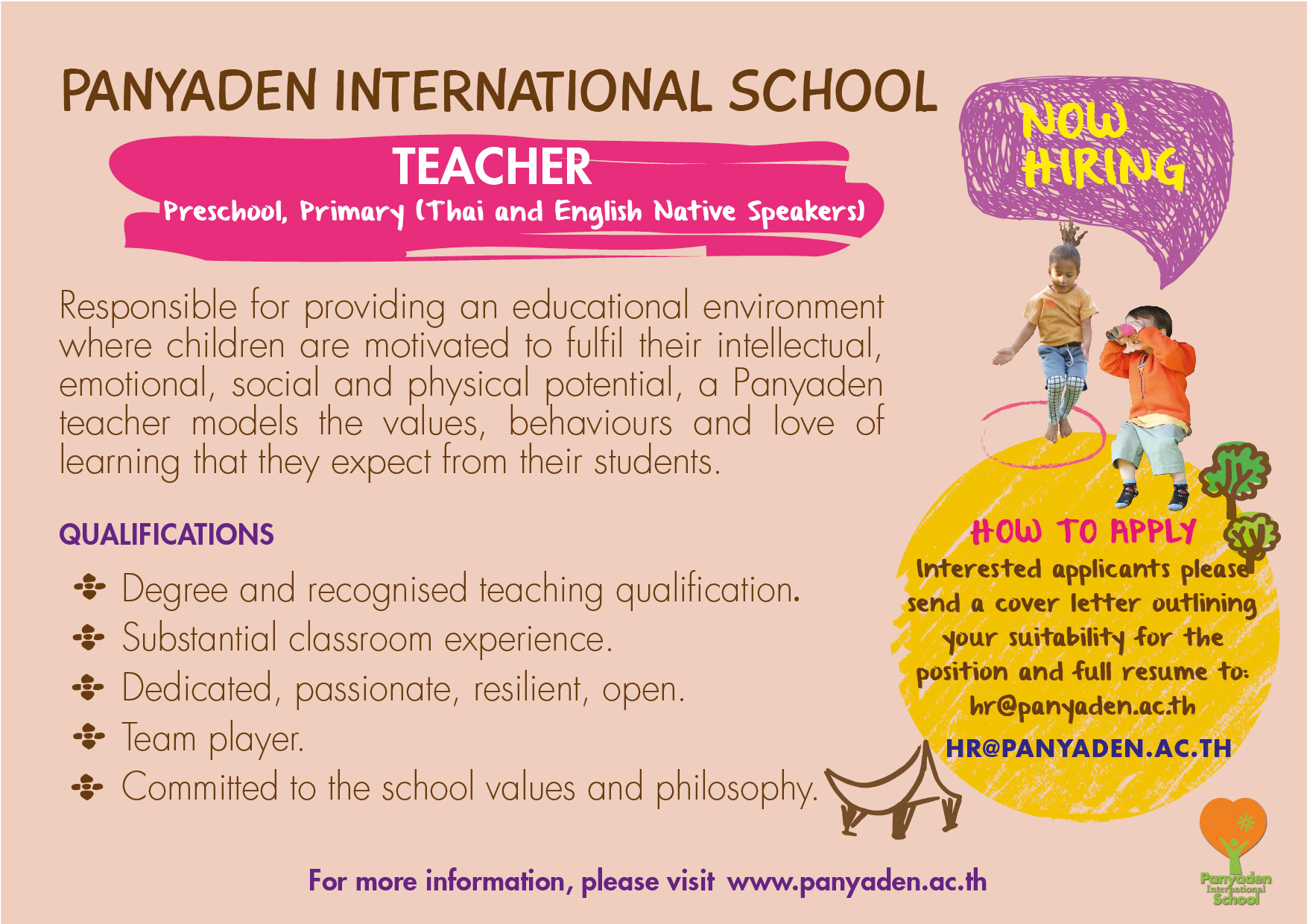 Panyaden International School Artwork Teacher Job Vacancies