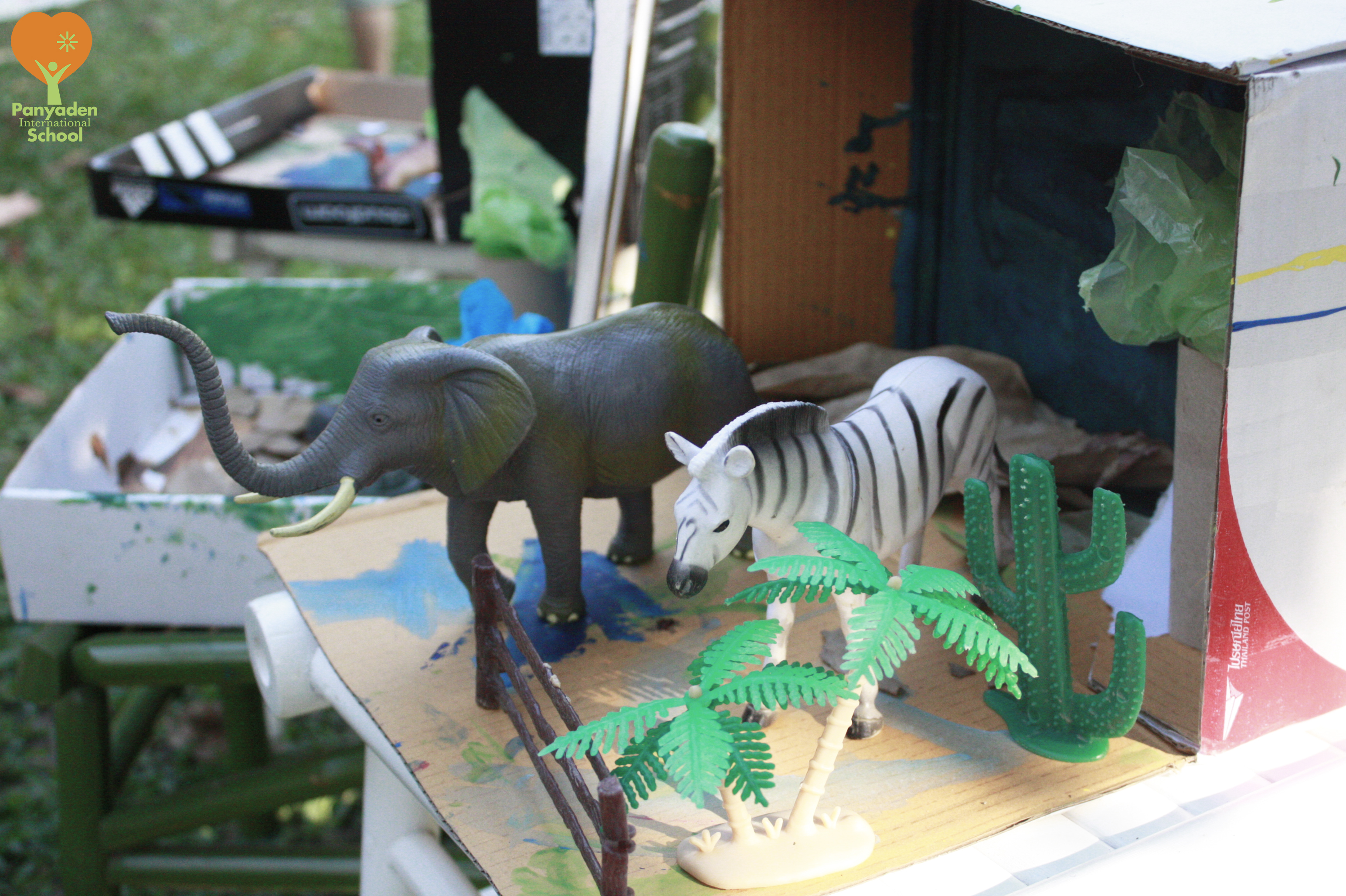 Diorama of African animals by Panyaden International School pre-school students