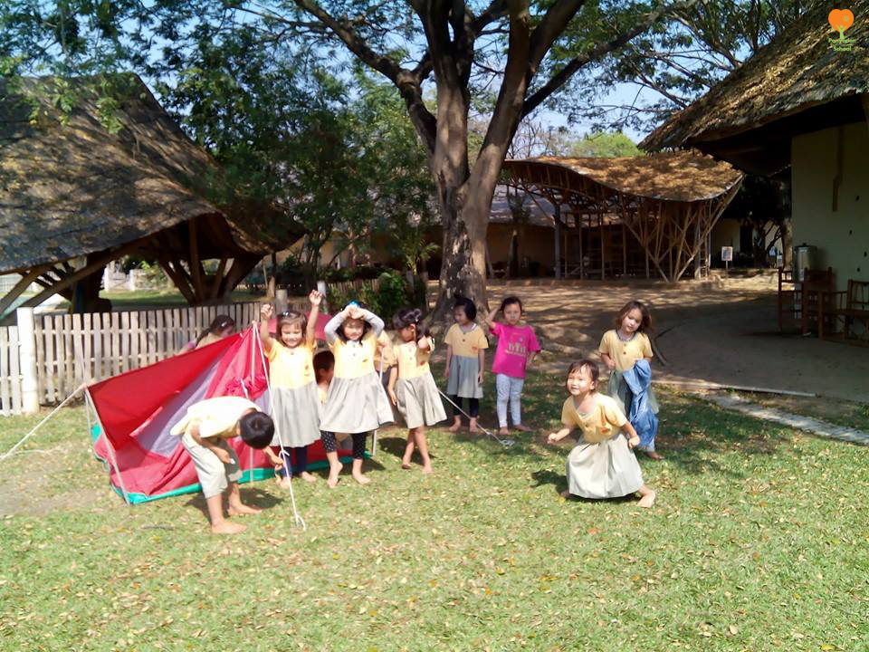 Kindergarten 2 camping outdoors at Panyaden International School Chiang Mai
