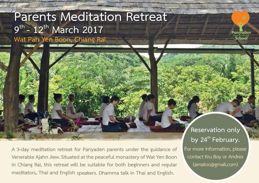 Panyaden International School - Parents Meditation Retreat poster 1