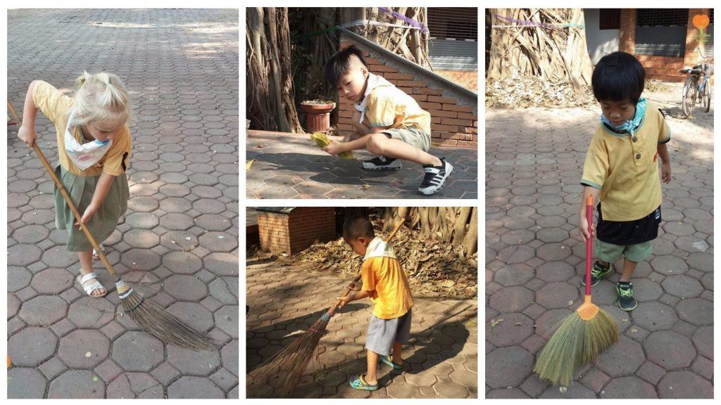 Panyaden social contribution day 2017 - Kindergarten 2 students cleaning up at Baan Sala community shrine
