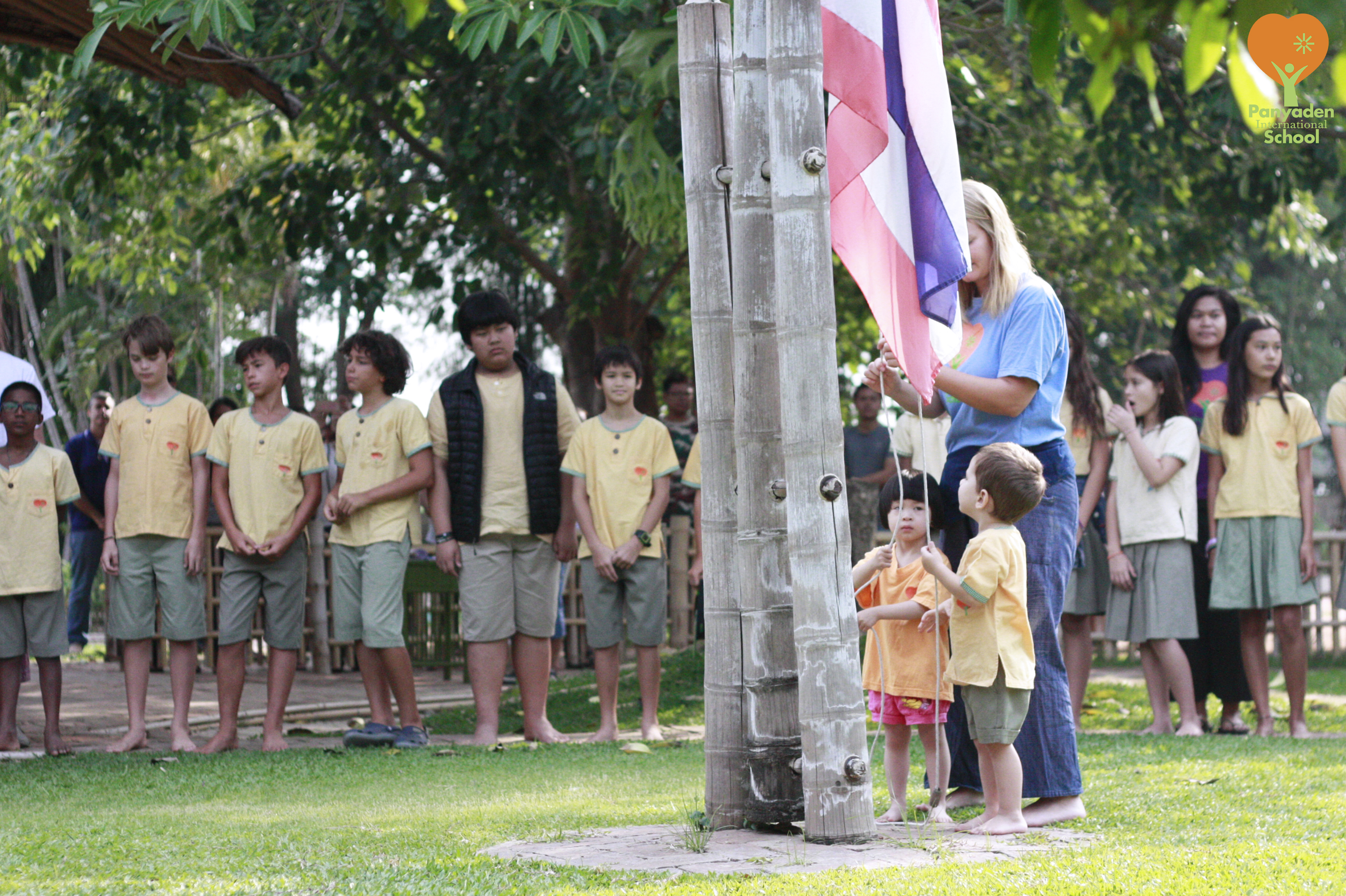 Flag raising at Panyaden International School on the first day after the half-term break