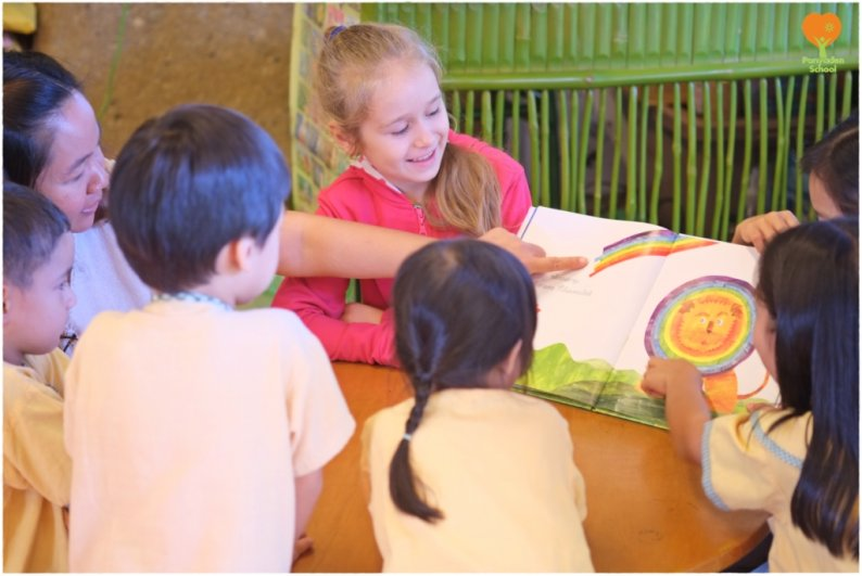 Panyaden students enjoy reading with friends at school