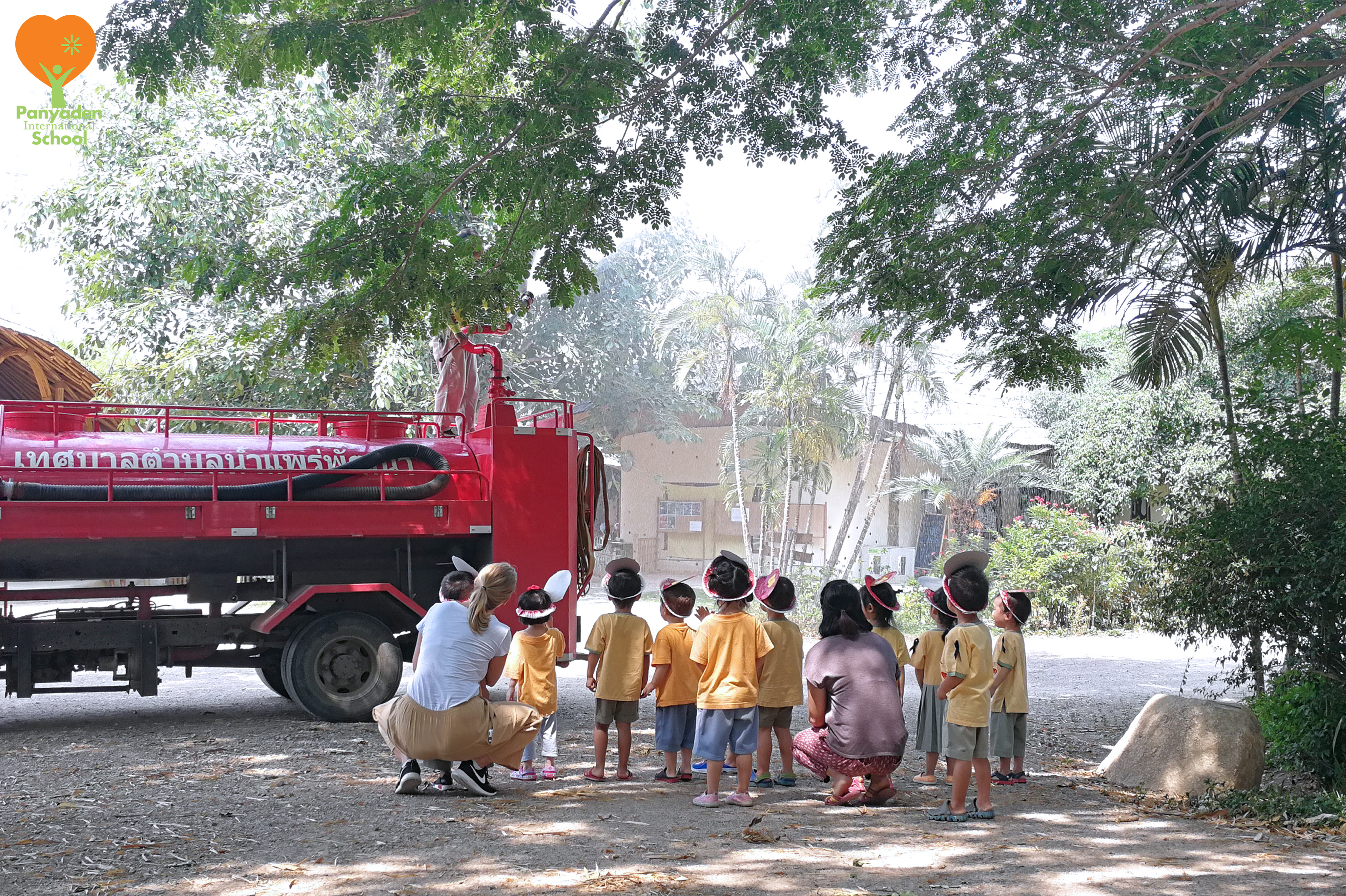 Panyaden Nursery students waiting for fire truck at school as part of their Little Explorers unit