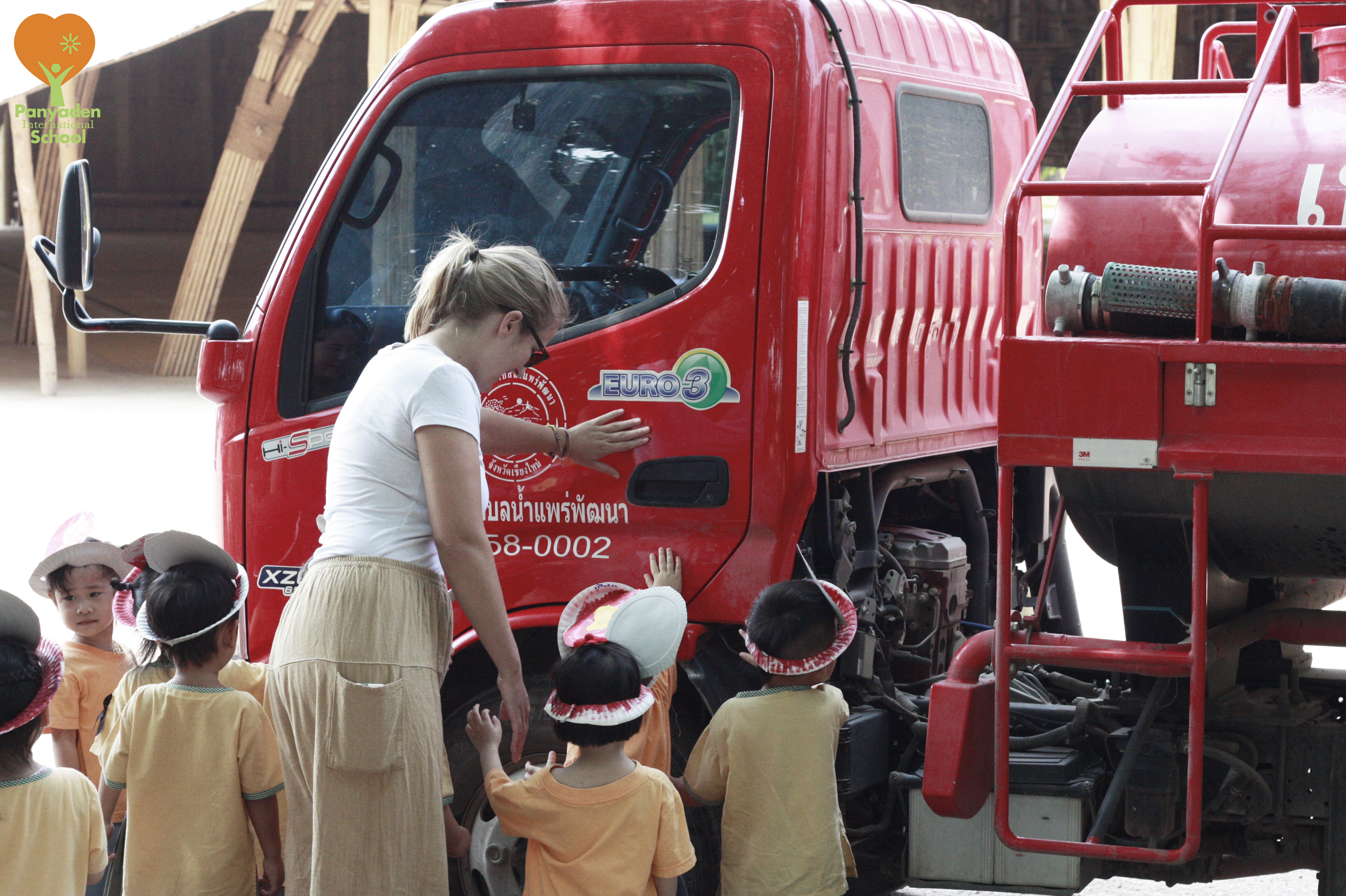 Excited about fire trucks, Panyaden Nursery students