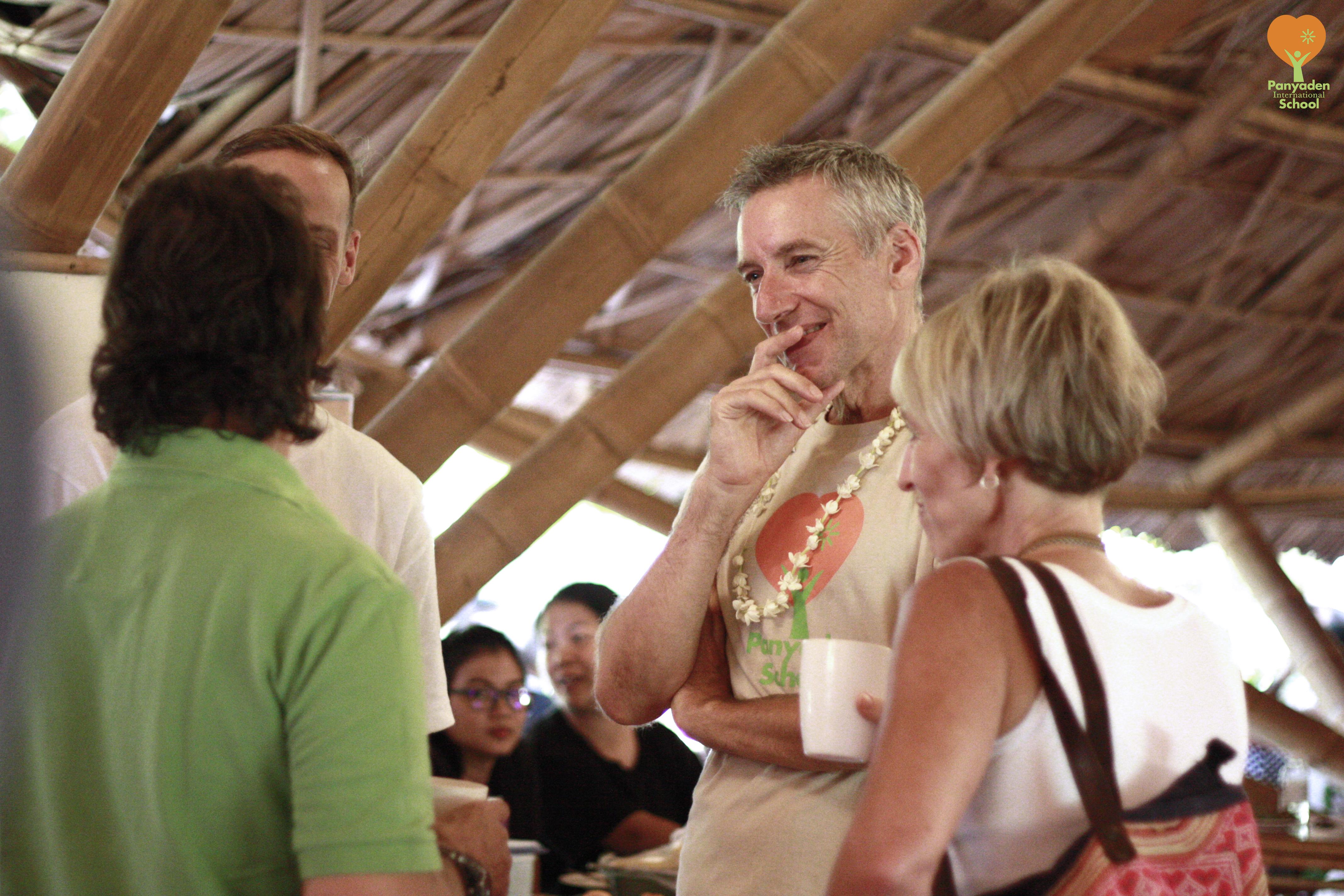 Panyaden International School Director chatting with parents, Blossom Market
