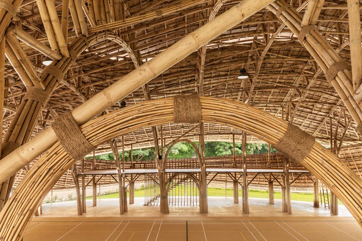 Amazing bamboo arches and lines, Panyaden International School assembly/indoor sports hall