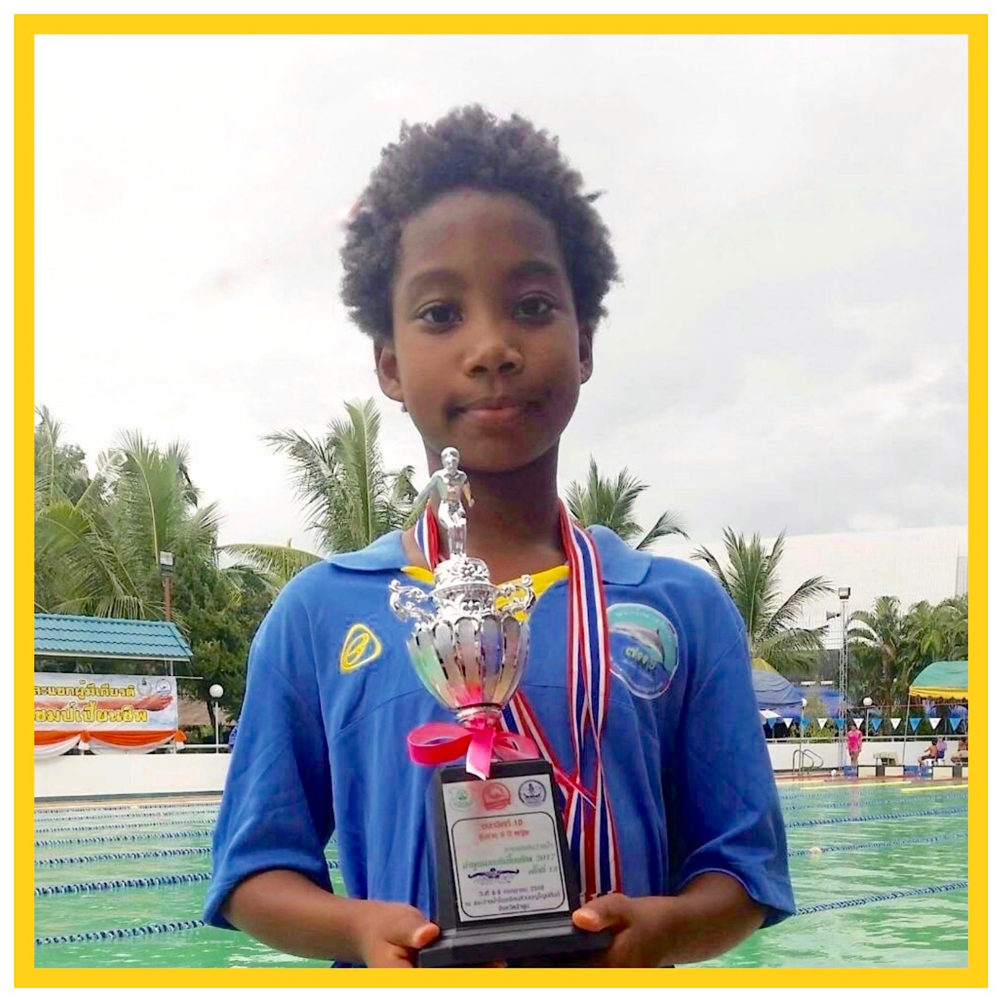 Ola, Panyaden Year 5 student with her swimming trophy