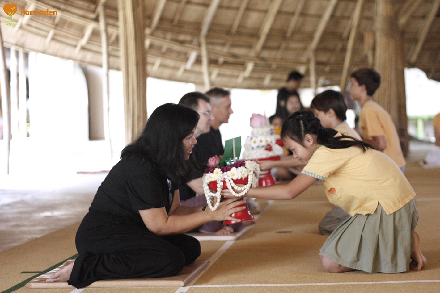 Panyaden Wai Kru Day 2017 ceremony - student presents paan to head teacher