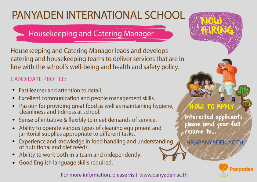 Panyaden artwork for Housekeeping and Catering Manager job