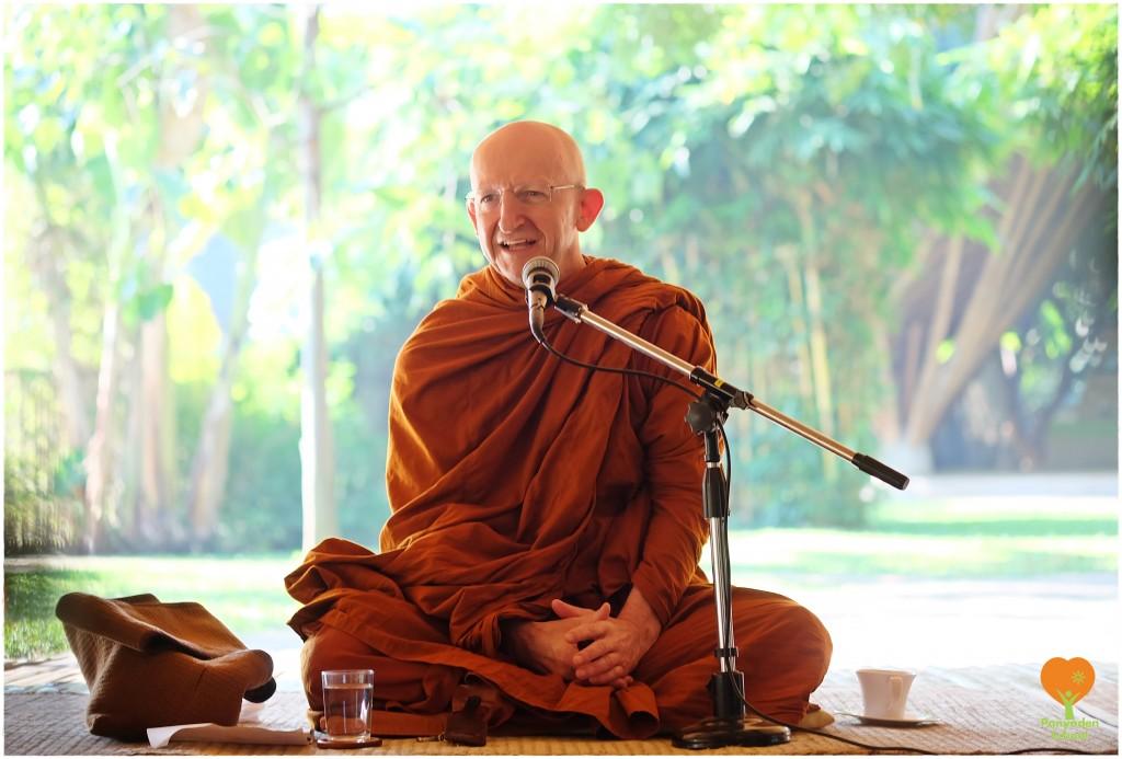 Ven. Ajahn Amaro giving a dhamma talk at Panyaden