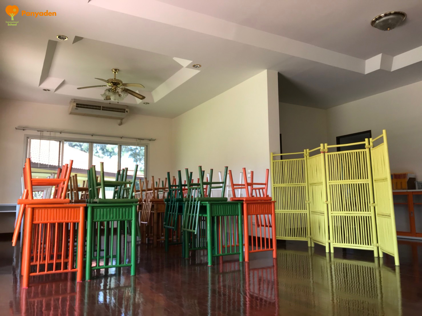 Tables and chairs ready for class again at Panyaden's temporary campus
