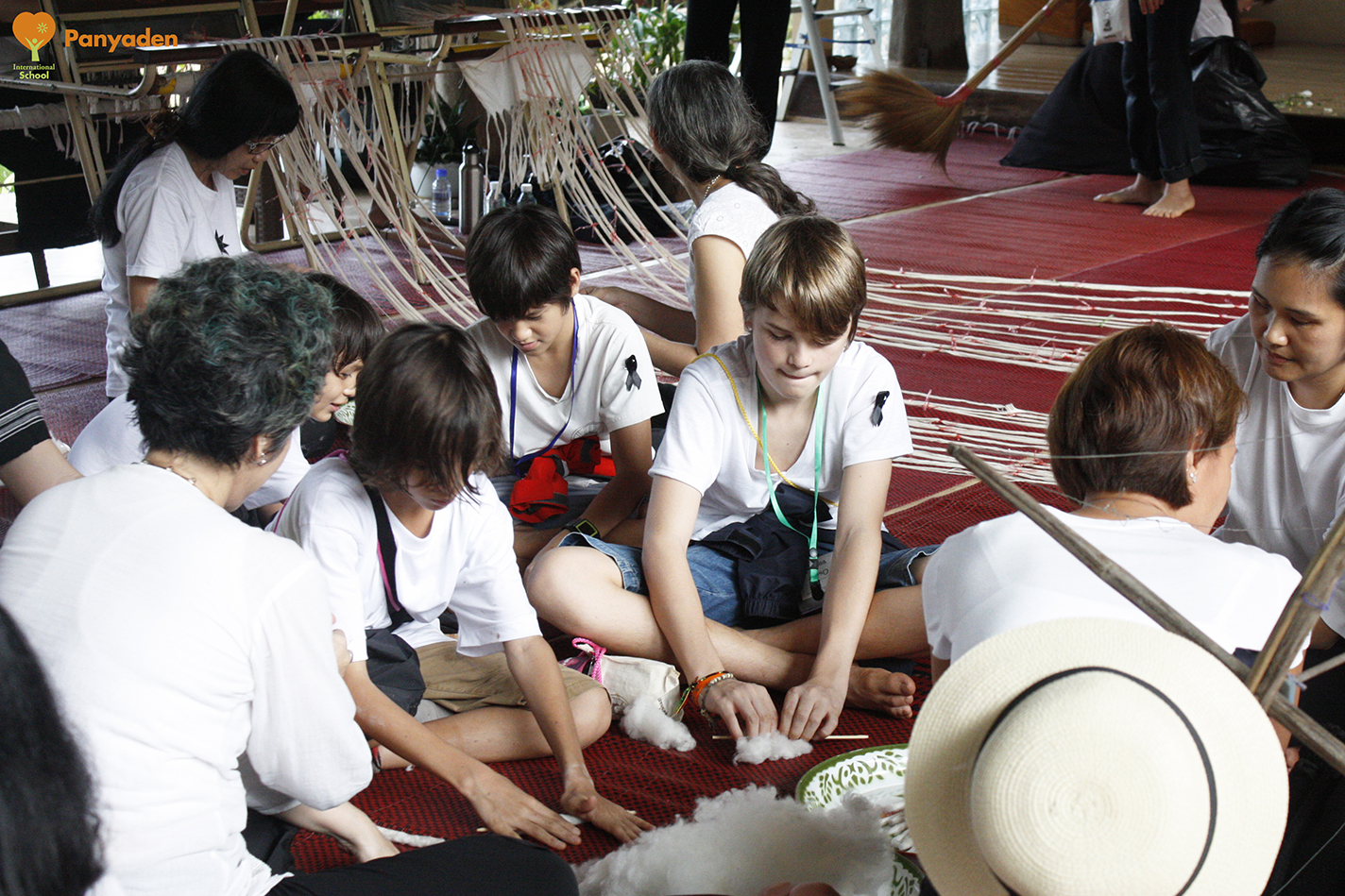 Removing seeds from cotton lint, Panyaden students at Jual; Khatina in Chiang Rai