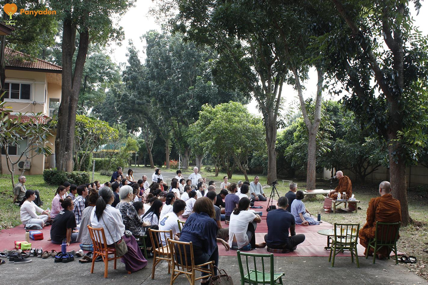 Venerable Ajahn Jayasaro giving a dhamma talk to Panyaden community at the school's temporary site