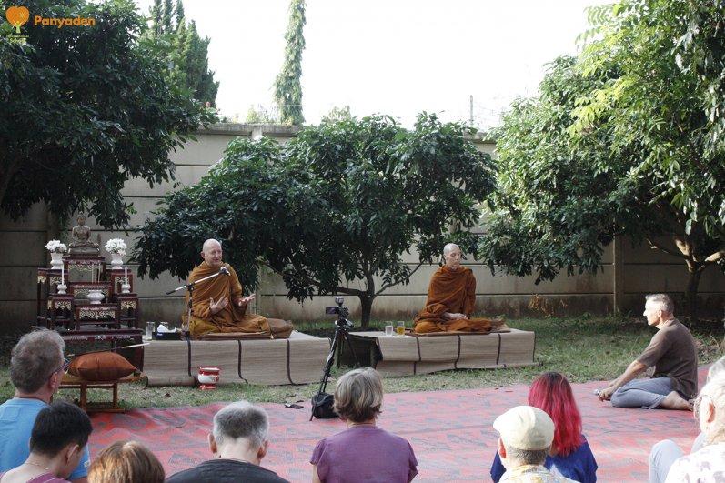 Ajahn Amaro giving a dhamma talk to the Panyaden community Nov 2017