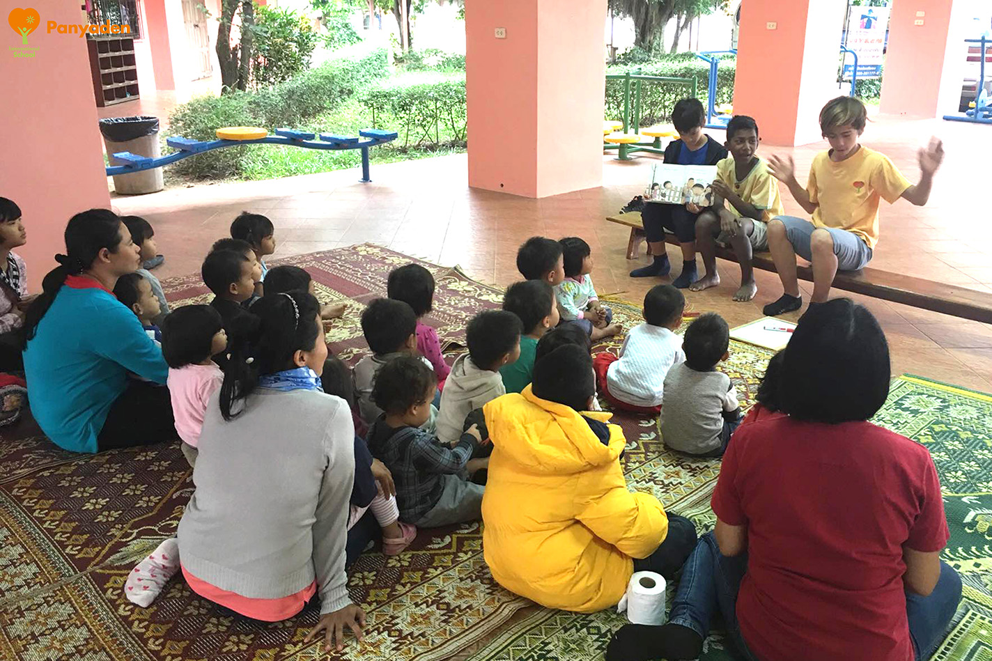 Panyaden Giving Week 2017: Year 7 (Y7) reading to children Agape Home Chiang Mai