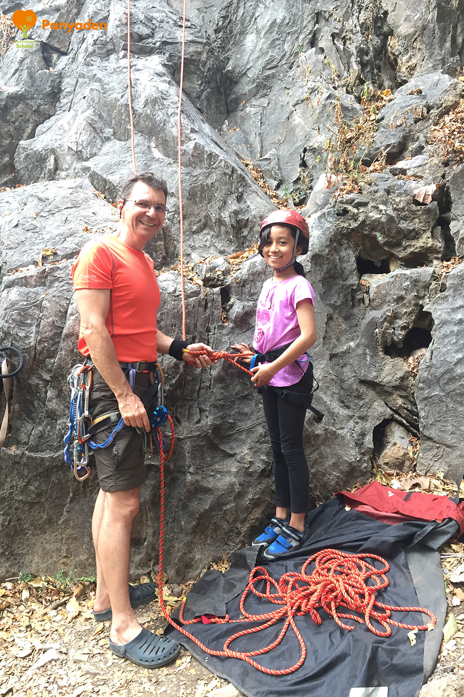 Panyaden Y7 rock climbing - head teacher with student
