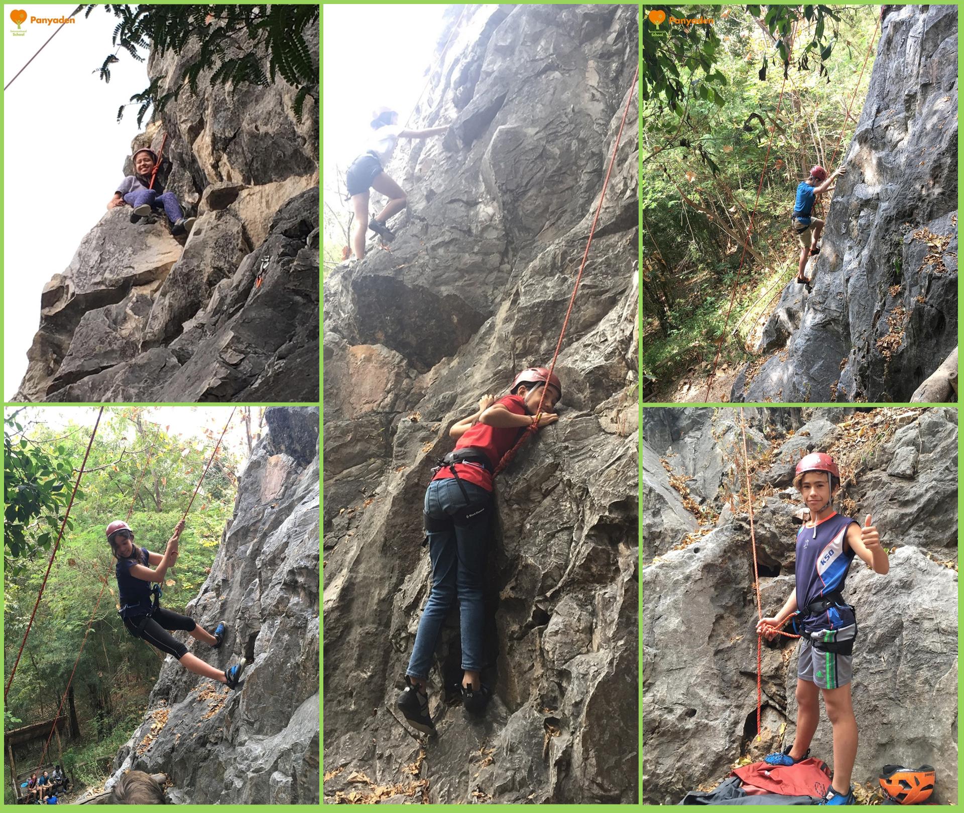 Panyaden Year 7 (Y7) students rock climbing