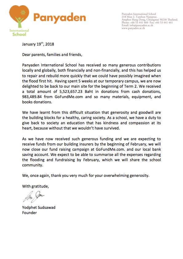 Panyaden Thai You letter for fundraising