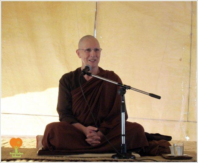 Ajahn Sundara giving a dhamma talk at Panyaden