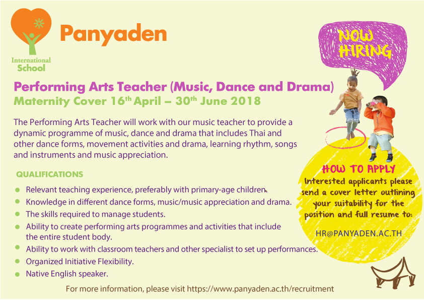 Panyaden Job Opportunities: Performing Arts Teacher (Maternity cover)