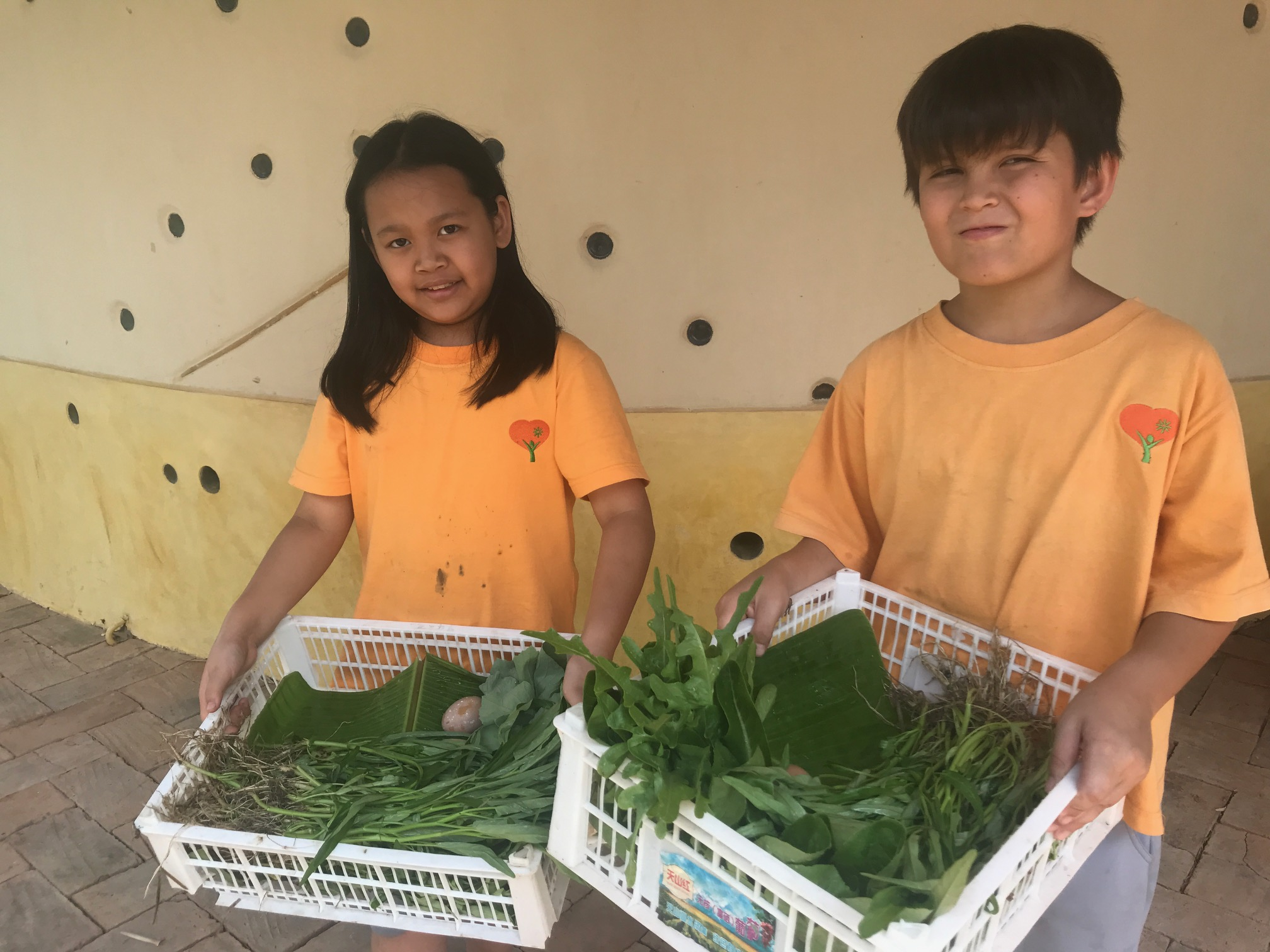 Panyaden self-sufficency farming life skills – students with organic vegetables grown at school
